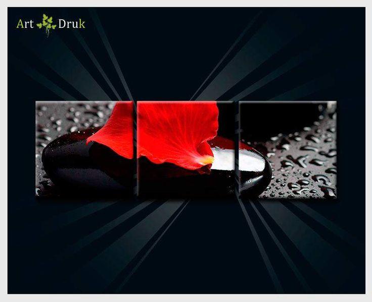 #ART-DRUK# OBRAZ TRYPTYK CZARNE KAMIENIE 90X30