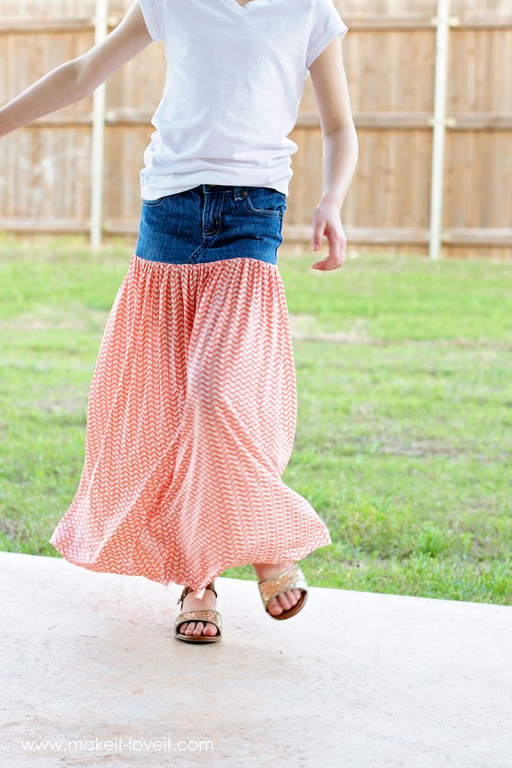 Learn this easy way to turn old jeans into a Maxi Skirt! Step-by-step instructions with photos!