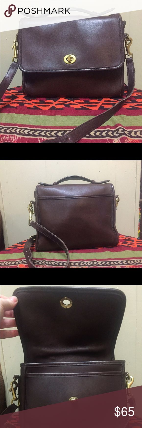 Coach Legacy Turn Lock Satchel Beautiful Brown Coach Legacy Turn Lock Satchel. Excellent vintage condition Width 10 inches.                                             Height 9 inches. Depth 4 inches. From a smoke free home. Coach Bags Satchels