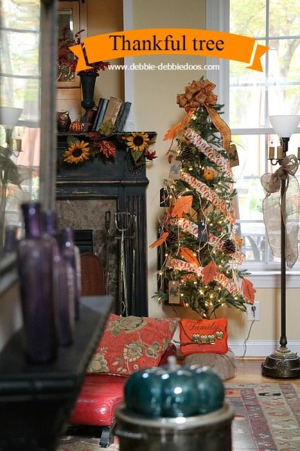 Thanksgiving Thankful tree for under $5.00 with dollar tree decor. Craft ideas and decorating with nature. @michaelsstores #debbiedoos: