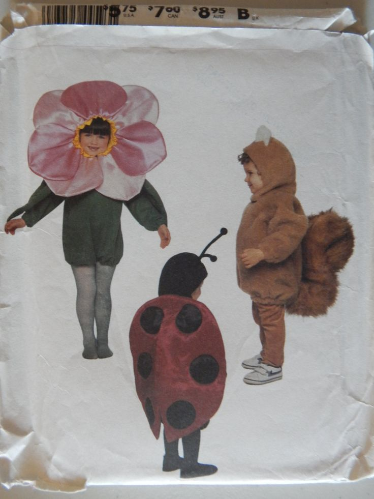 vintage mccalls children halloween costume pattern 4459 uncut butterfly turtle squirrel flower ladybug or bird size 3 4 - Childrens Halloween Costume Patterns