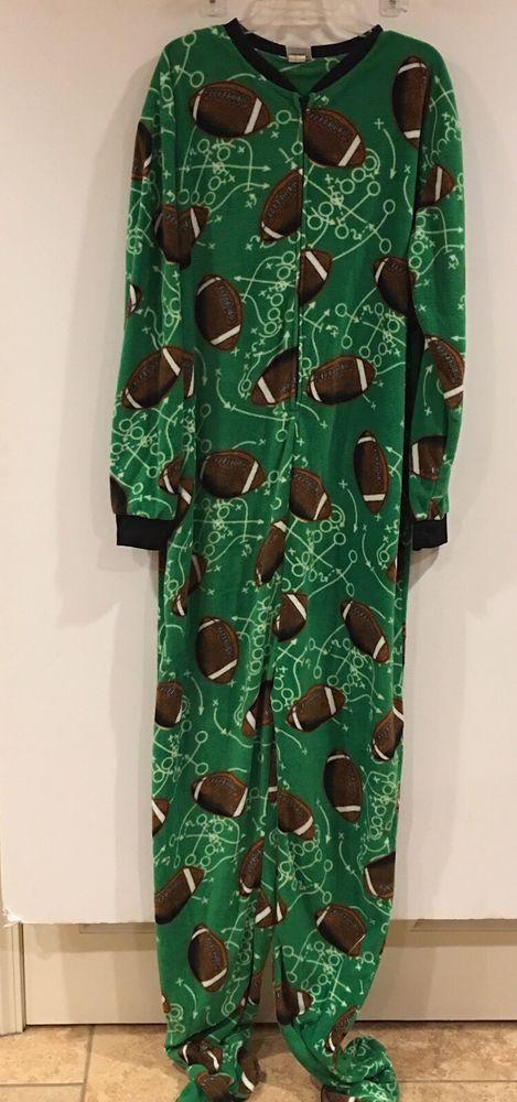 Football Fleece Footie Pajamas Fun Unisex XL Men's Adult  | eBay