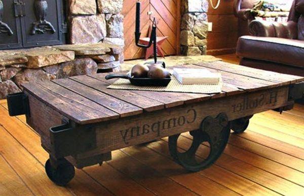 1000 id es sur le th me meubles en bois fonc sur pinterest meubles shabby chic meubles et - Table basse palette industrielle vintage ...