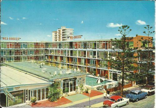 Vintage 1960s SEA Breeze Hotel Postcard   Surfers Paradise Queensland