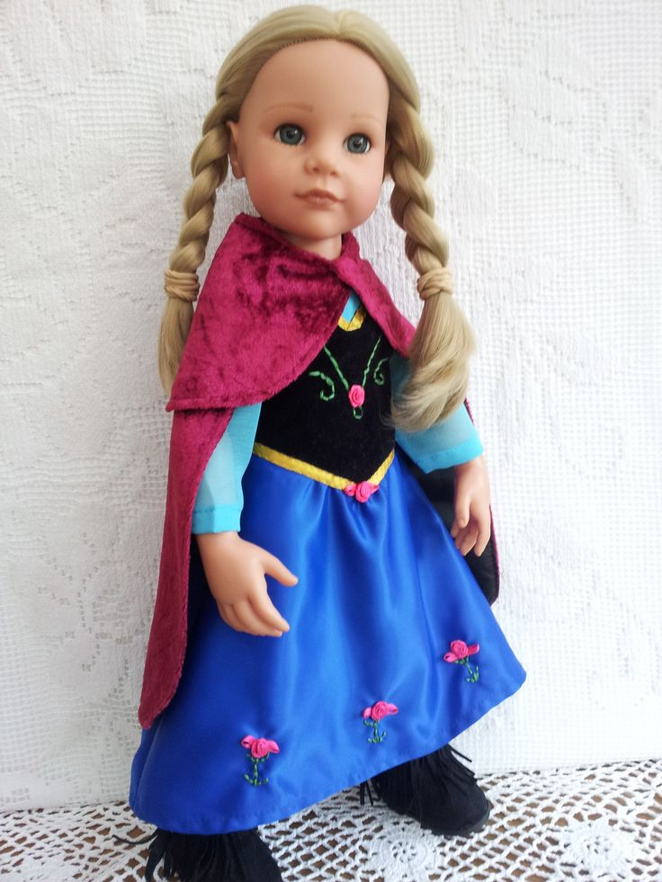 Princess Dress and Cape like Anna.  Velvet embroidered bodice, satin skirt with flowers, Berry-pink Cape.
