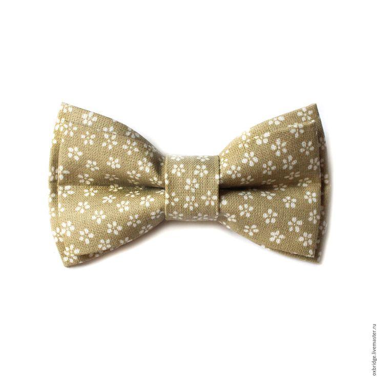 Купить Галстук бабочка бежевого цвета в цветочек / Бабочка галстук бежевый - галстук бабочка