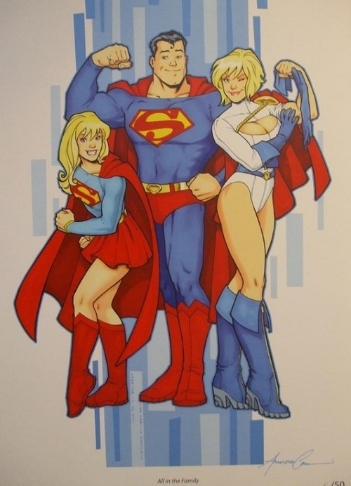 Supes, Power Girl, and Supergirl by Amanda Conner