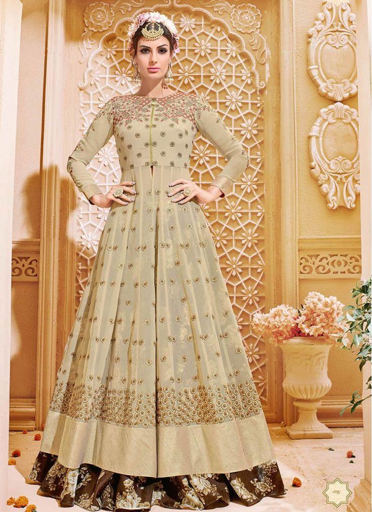 Impressive Georgette Embroidered Beige and Brown Floor Length Anarkali Suit