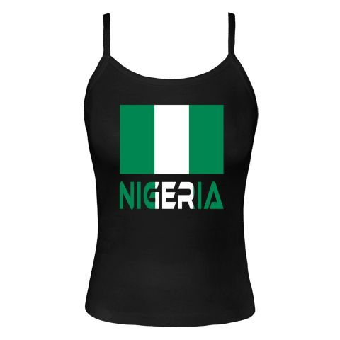 Nigerian flag with the word NIGERIA below in the colors of the flag. Shows on t-shirts, products, apparall,and gifts,  Fun way to share your love of all things Nigerian. $24.99 ink.flagnation.com