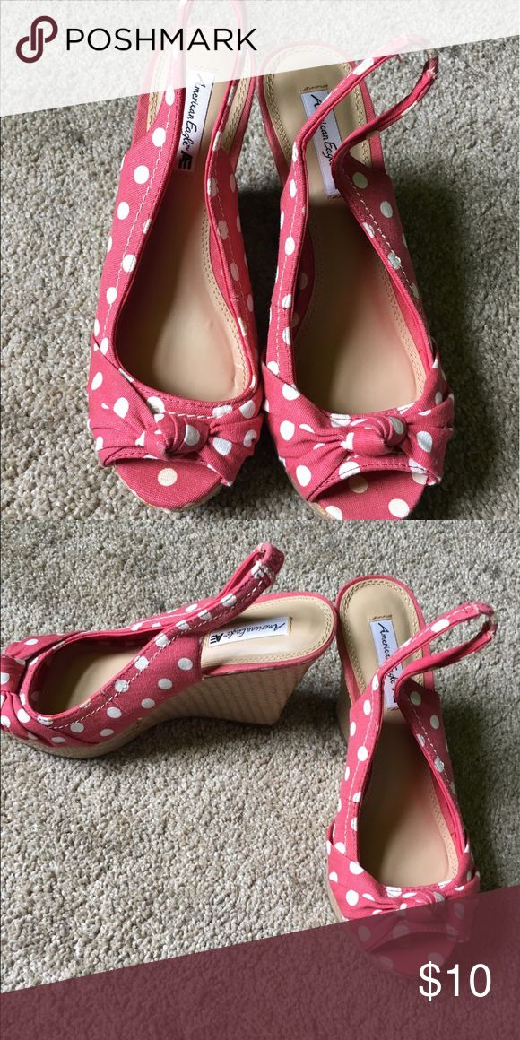 Ameican eagle polka dot wedges Great condition! Wore twice. Its says 6 but fits 6.5 Shoes Wedges