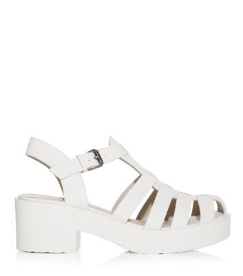 White Caged Chunky Block Heel Sandals; these are my wishlist in itself right now i want them so bad