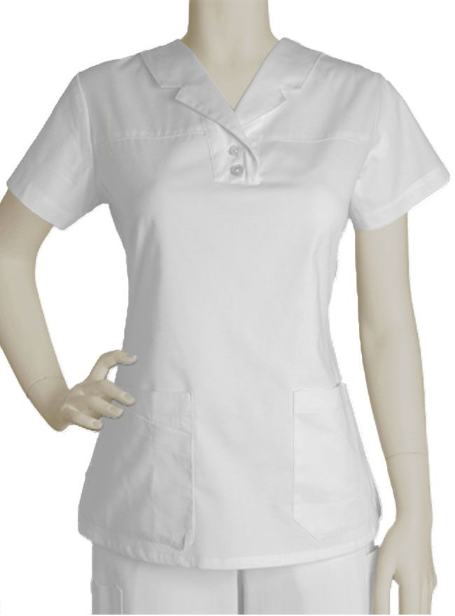 Truly a unique scrub top, this white Barco Prima uniform features a notched lapel collar on a short sleeved top.