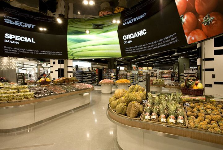 Supermarket Design | Produce Areas | Retail Design | Shop Interiors | Ole grocery store by rkd retail iQ Shen Zhen Ole grocery store by rkd retail/iQ, Shen Zhen