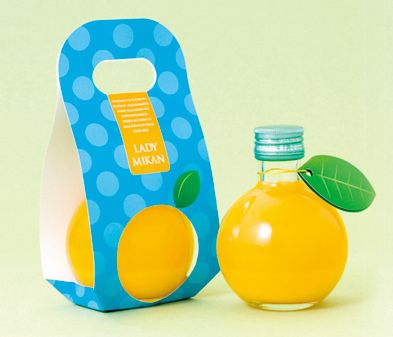 LADY MIKAN not sure whether this is juice or alcohol #packaging. In any case it's clever PD