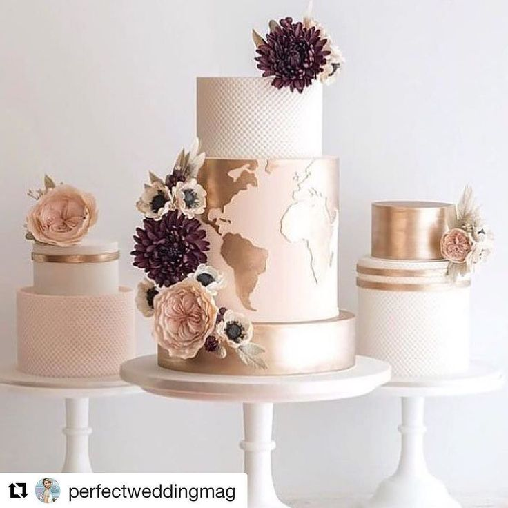 Love this cake trio for all you traveller out there!  @perfectweddingmag  This map cake is so gorgeous... and sits perfectly with the other two! #cake #weddingcake #desserttable #mapcake #dessert #pinkcake #goldcake #delicious #foodie @weddedwonderland