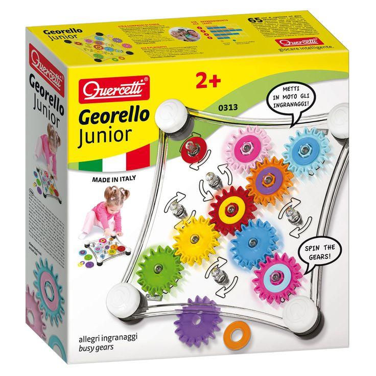 Met dit Quercetti Georello Junior spel kun je een draai geven aan de kleurrijke tandwielen, zal er een kettingreactie plaatsvinden en kun je kijken naar de prachtige visuele effecten. Door z'n rubberen voetjes kan het spel op een horizontaal oppervlak gespeeld ...
