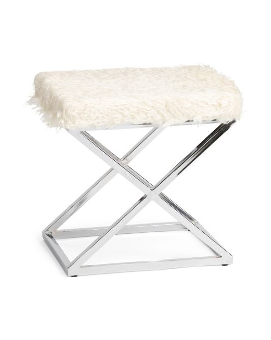 Faux Fur Criss Cross Bench Home Goods Vanity Stool Accent Furniture