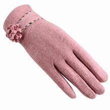 Новый поясом цветочные кашемир осень и зима толстая леди указывает пальцем кролик волосы женской моды жемчуг шерстяные перчатки(China (Mainland))