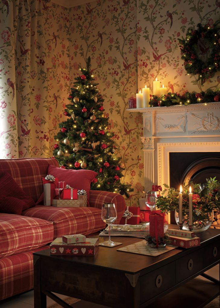 Laura Ashley Christmas: Combine traditional tones of green and red for a nostalgic feel...