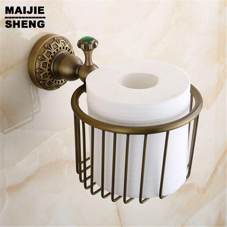 Europese wc-papier doos archaize toiletpapier doos Alle koperen top papier houder badkamer toiletpapier mand met groene steen(China (Mainland))