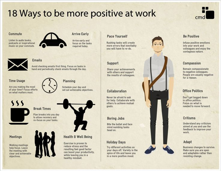 18 Ways To Be More Positive At Work #Infographic