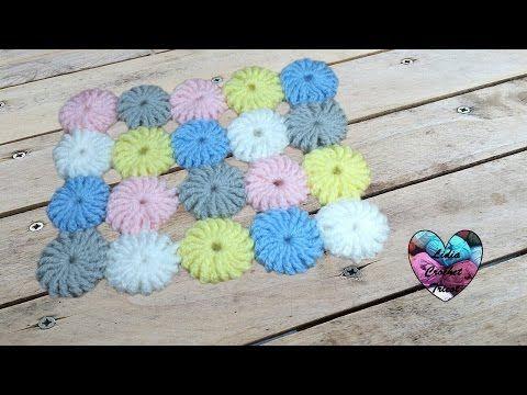 Pastilles fleurs pour couverture tapis crochet - YouTube