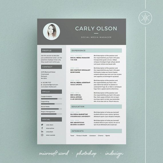 Carly Resume/CV  / Cover letter / Template / Word Photoshop / InDesign / Instant download by Keke Resume Boutique