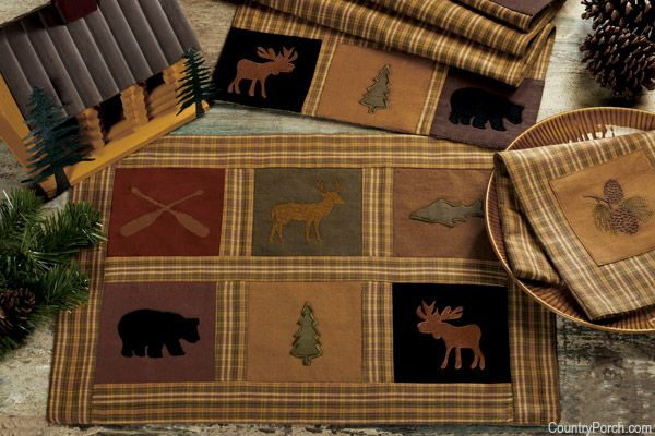 Lots of lodge themed kitchen/home decorating, curtains, valances, etc.