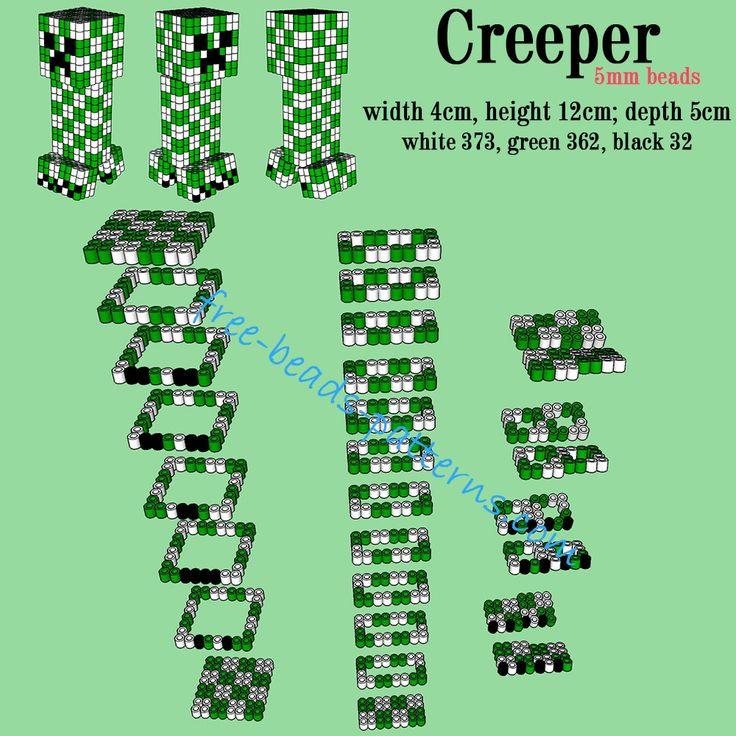 minecraft creeper 3d perler beads hama beads pyssla. Black Bedroom Furniture Sets. Home Design Ideas