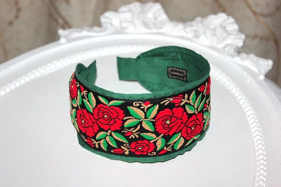 Bohemian Headband Embroidery Red Flower headband colorful