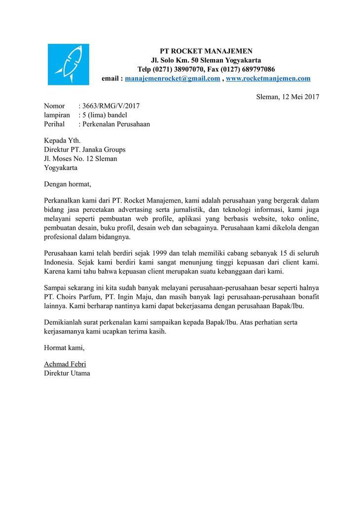 hasil gambar untuk contoh surat perkenalan perusahaan jasa