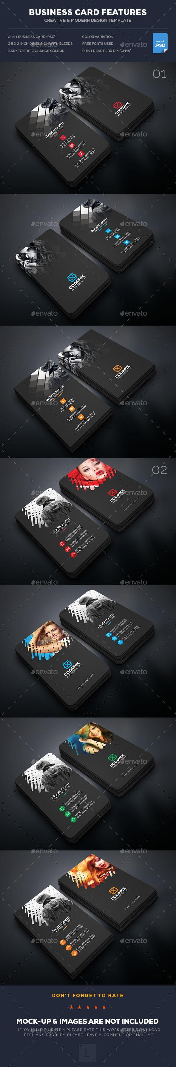 Photography Business Card Template PSD Bundle. Download here: https://graphicriver.net/item/photography-business-card-bundle/17402540?ref=ksioks