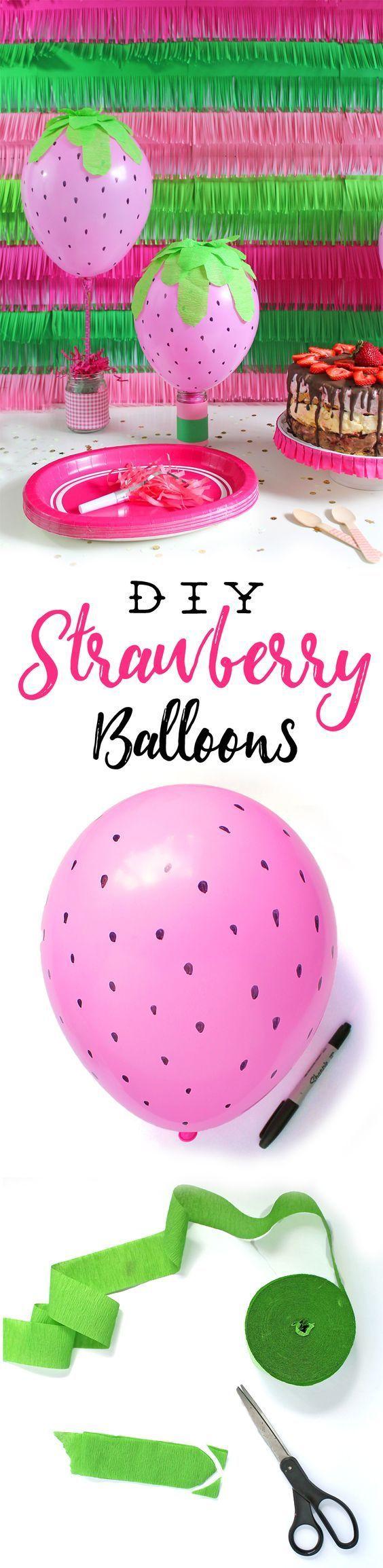 Qué idea tan divertida!!! para decorar una fiesta infantil de Tarta de Fresa!!! En www.wonderfiesta.com encontrarás los globos y las botellas de helio.