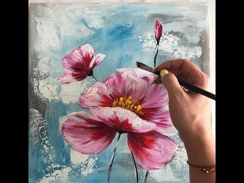 Easy Floral Painting Demonstration Acrylic Techniq…
