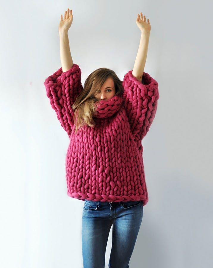 Og du kan selv slå den store maske op: både merino-ulden og pindene i XXL størrelse kan du få med posten.