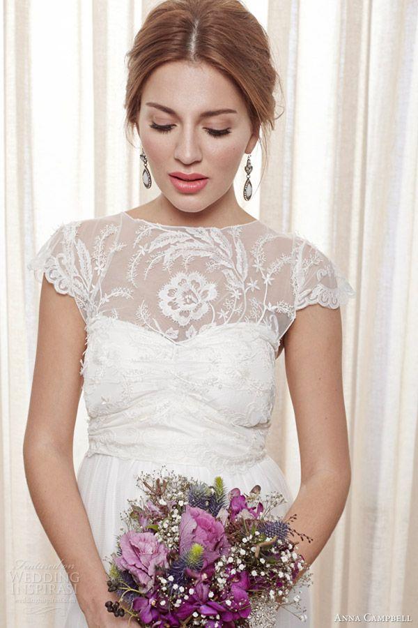anna campbell bridal 2013 2014 fleur wedding dress cap sleeve close up