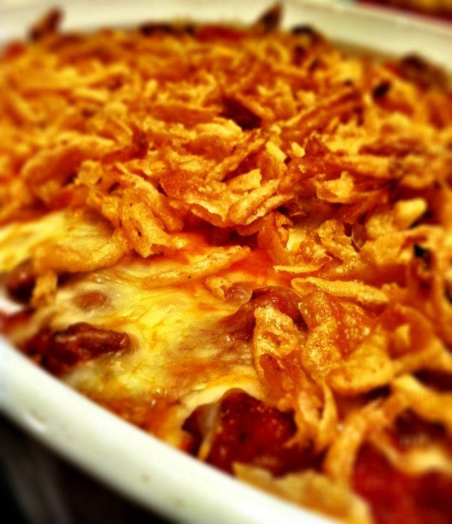 Heaven Sent Cheesy Baked Spaghetti - seriously the best spaghetti you will ever put in your mouth.