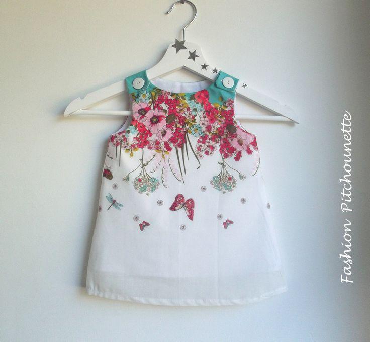 """Robe """"LILIA 2"""" 6-36 mois,évolutive,fleurs,blanc,rouge,turquoise,en coton : Mode Bébé par fashion-pitchounette"""