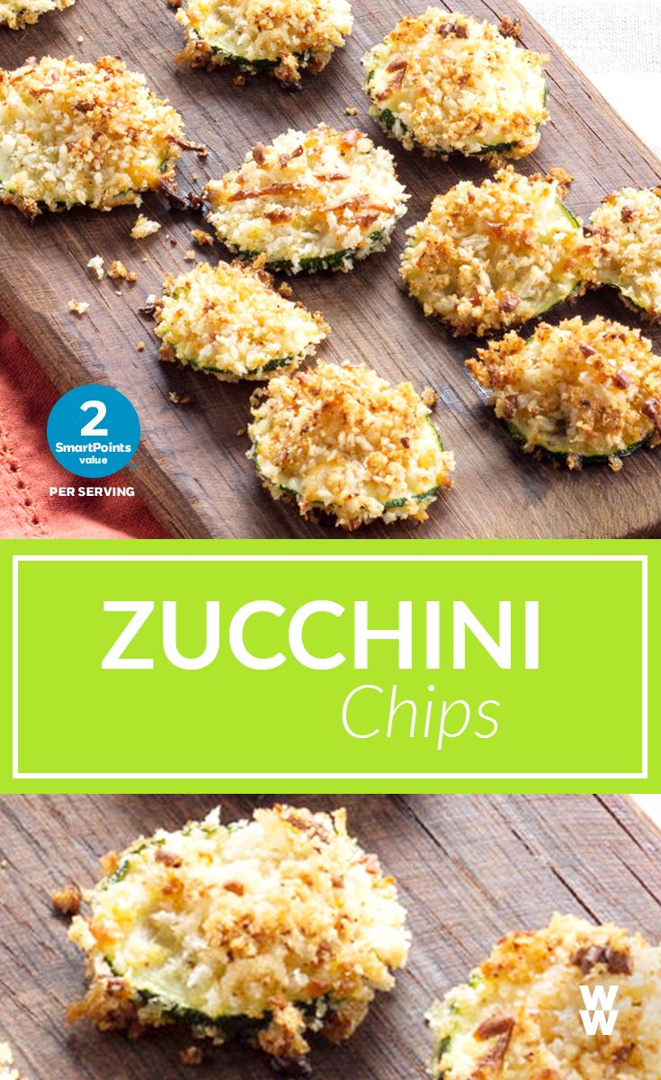 Zucchini Chips: 2 SmartPoints | You (and your kids!) will LOVE this easy, cheesy appetizer (featuring WW Market light string cheese!)