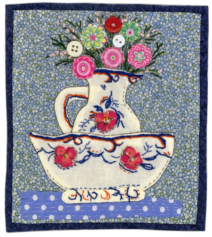 Sharon Blackman: Ice creams & Summer! Jug and bowl embroidered applique textile picture