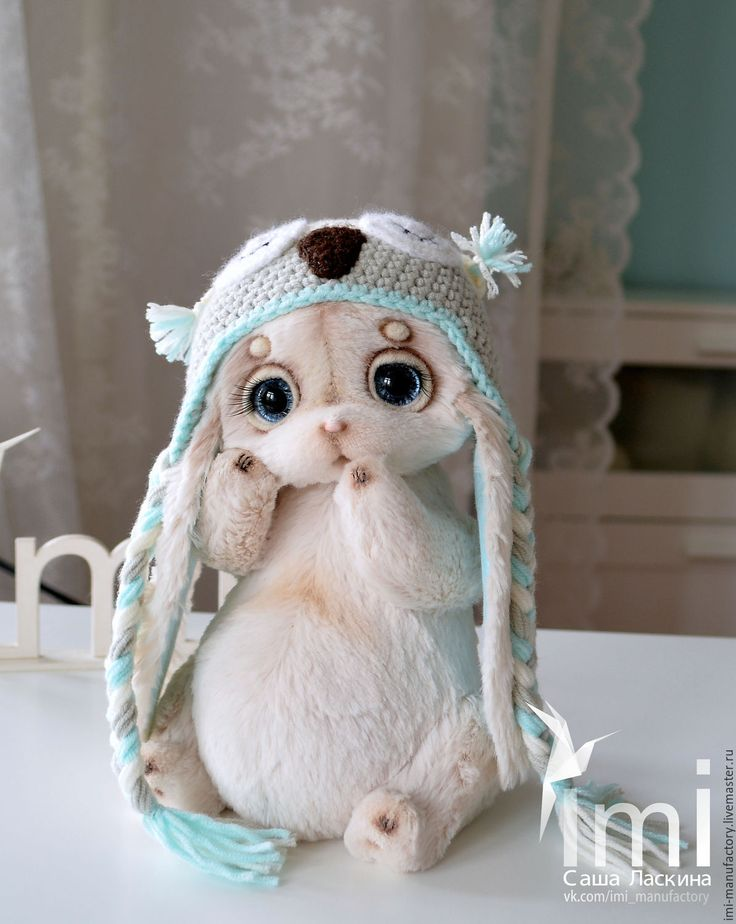 Teddy toy Bunny / Купить крошка Стешечка с веснушечками в шапочке совы - бирюзовый, мятный, тиффани, серый, сова, шапочка