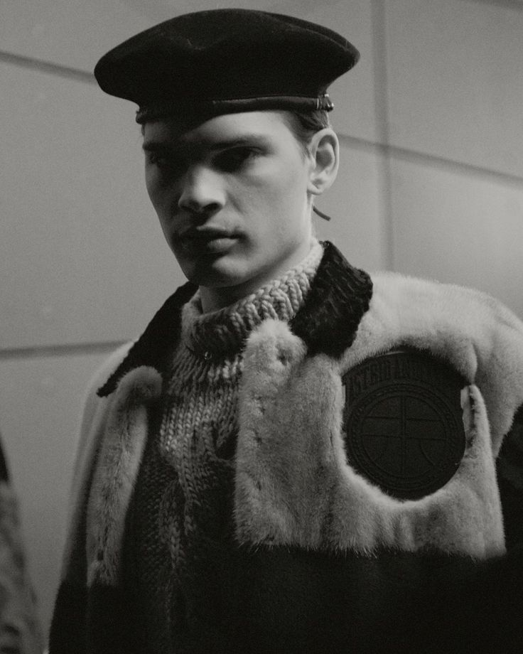 ASTRID ANDERSEN AW15 Menswear Fur Outerwear Military Beret