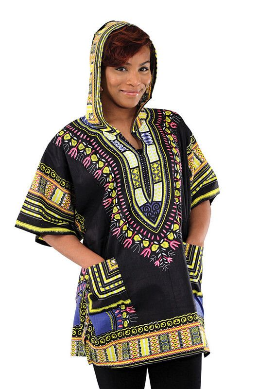 """Bring a bit of ethnic style to your day with these new dashikis with a hood. Each one pays homage to the African dashiki while being at an affordable price. 100% cotton. Size One size fits most 56-58"""""""