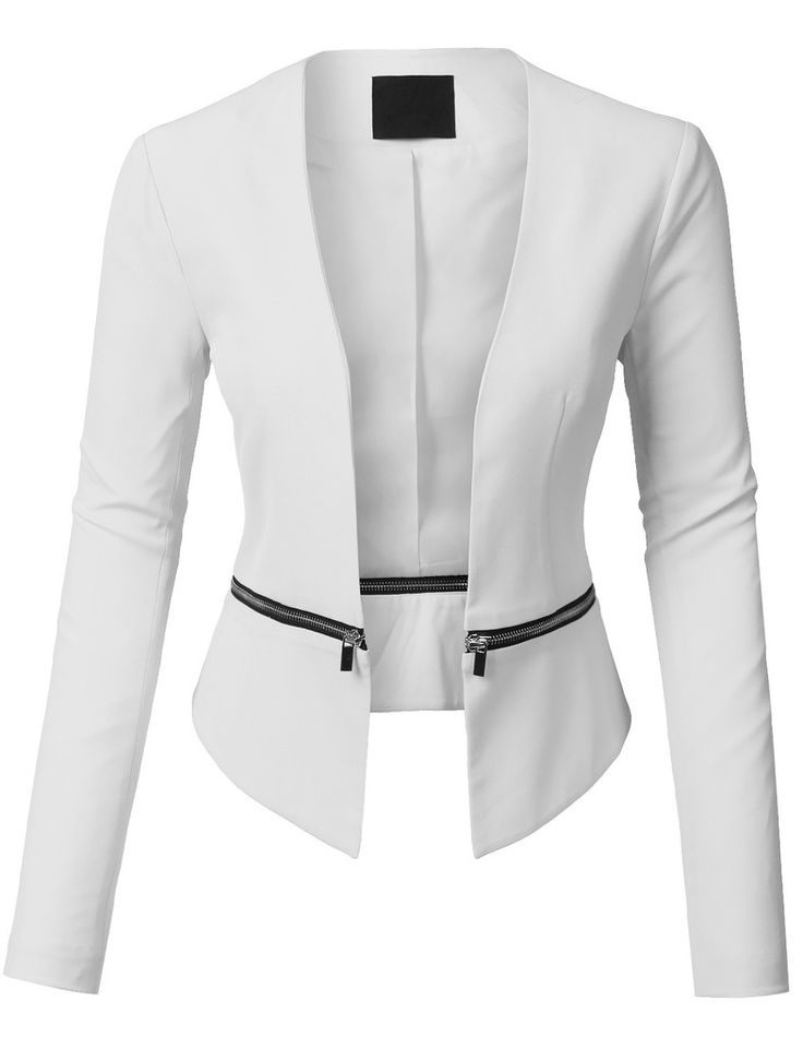 Womens Long Sleeve Open Front Blazer Jacket with Detachable Hem - not in  white but the zipper detail is BA!