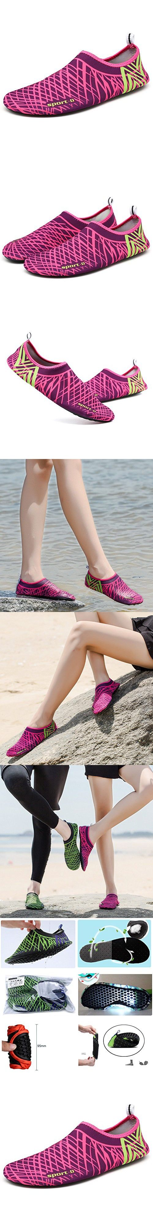 EQUICK Men Women and Kids' Water Shoes Outdoor Sports Aqua Socks Quick-dry Holey Ventilation KPU Outsole,CDFS5,Red,M