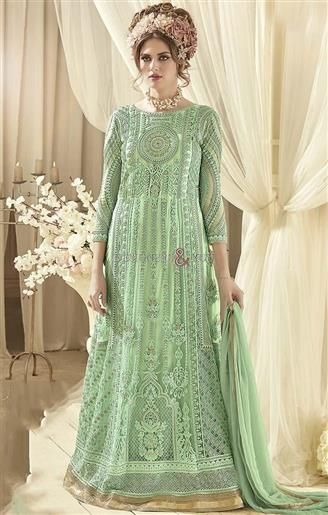 Gorgeous Green Net Embroidered Party Gown Online India