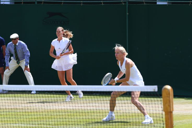 Jana Novotna and Barbara Schett during the Ladies' Invitation Doubles. Eddie Keogh/AELTC Wimbledon 2015