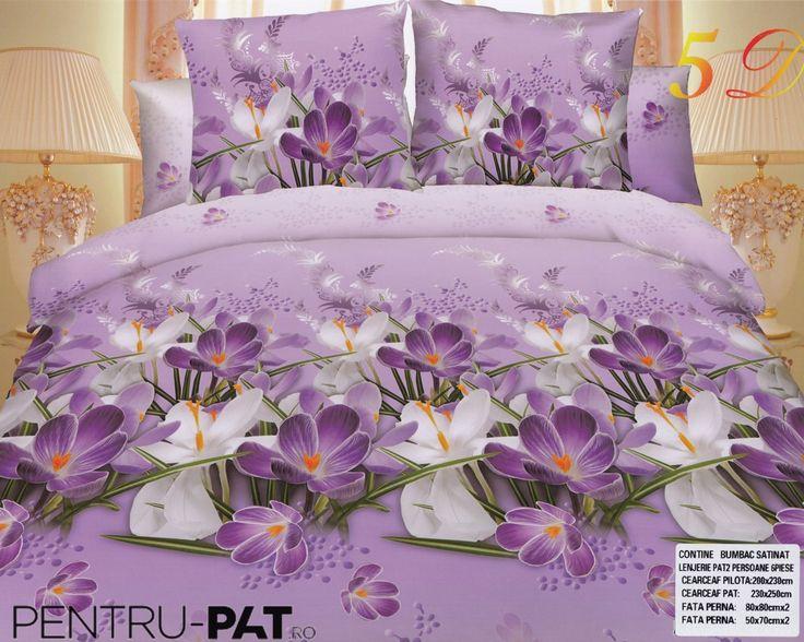 Lenjerie de pat bumbac satinat Pucioasa 3D cu violete