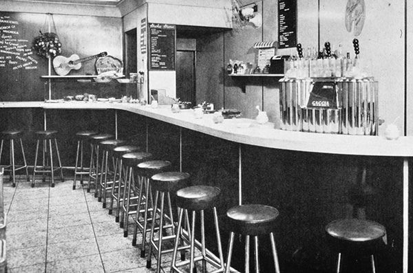 Interior of the Moka coffee bar in Soho, London, 1950s. | by Visual Resources @ MMU