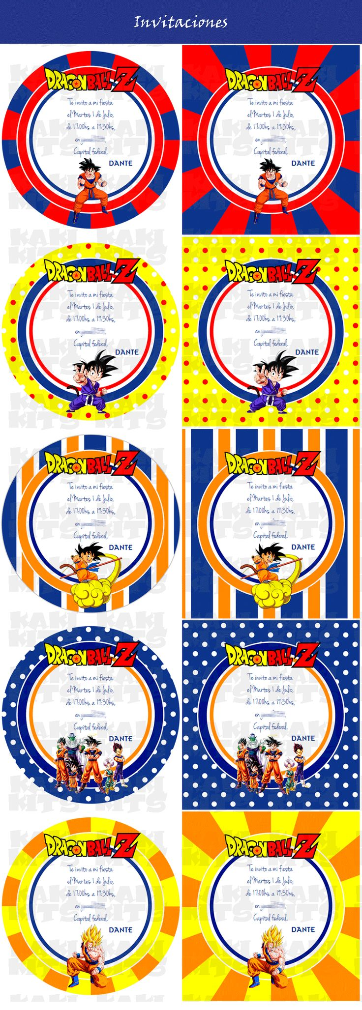 Kit Imprimible Dragon Ball Z Candy Bar Invitaciones Deco - $ 67,00